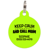 Lime Keep Calm And Call Mom | Funny Dog ID Tag for Pets