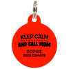 Red Keep Calm And Call Mom | Funny Dog ID Tag for Pets