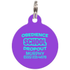 Purple Obedience School Dropout Funny Dog ID Tag