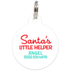 White Santa's Little Helper Funny Dog ID Tag for Pets