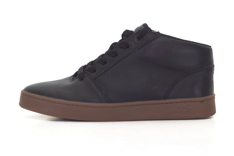 Mid,leather, black with gum outsole