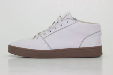 Mid,leather, white with black outsole