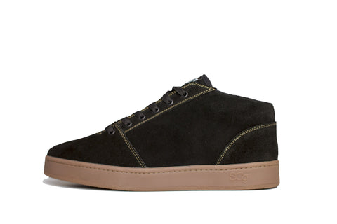 Mid, black with gum outsole