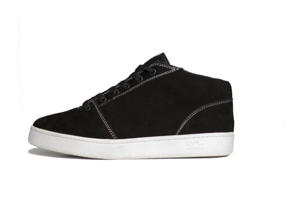 Mid,Suede, black with white outsole