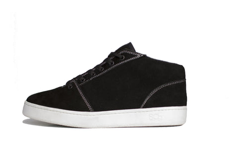 Mid, black with white outsole