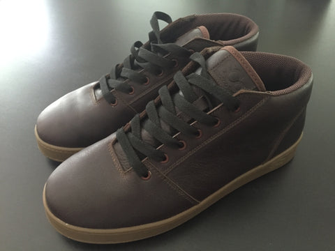 Mid,leather, chocolate with white outsole