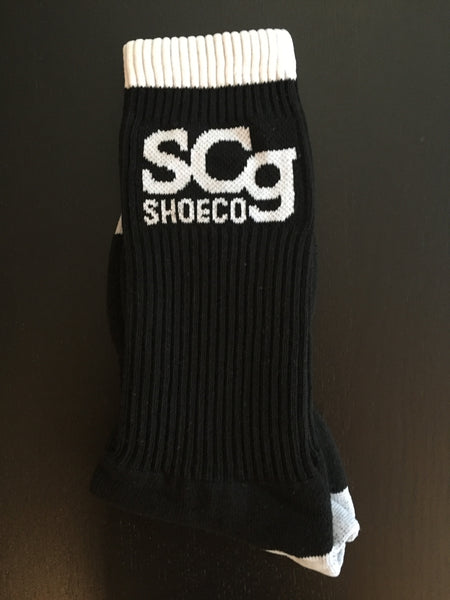 SCg premium socks, black with white logo, white stripe
