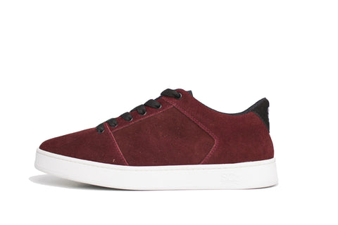 Sound,suede, burgundy with white outsole