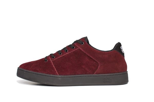 Sound,suede, burgundy with camo outsole