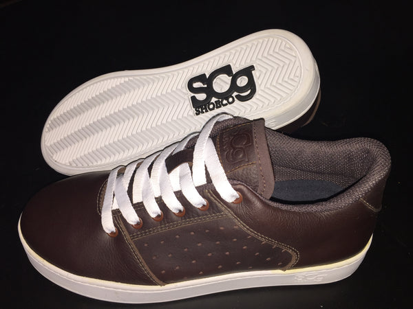 Sound,leather, chocolate with white outsole
