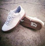 Sound,leather, white with gum outsole