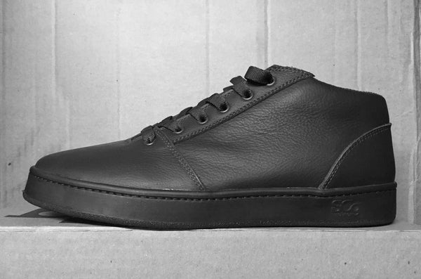 Mid,leather, black with black outsole