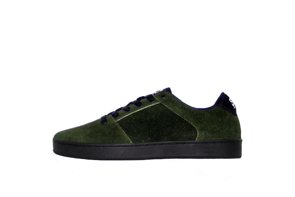 Sound,suede, forest green with camo outsole