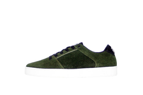 Sound,suede, forest green with white outsole