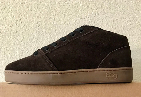 Mid,Suede, chocolate with gum outsole