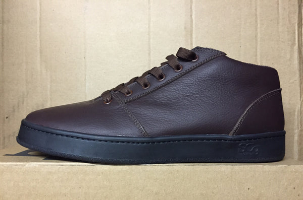 Mid,leather, chocolate with black outsole