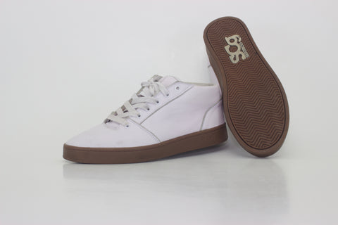Mid,leather, white with gum outsole
