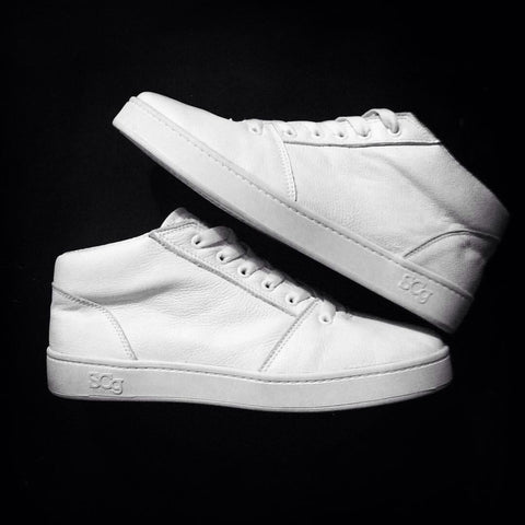 Mid,leather, white with white outsole