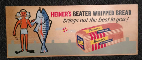 1950's Heiner's Bakery Beater Whipped Ocean Diver Cardboard Sign - Old & Original - West Virginia