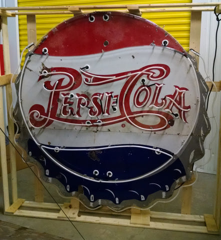 Rare & Original 1950's Porcelain Pepsi:Cola Bottle Cap Neon Sign