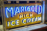 Marigold Rich Ice Cream Porcelain Neon Sign For Sale