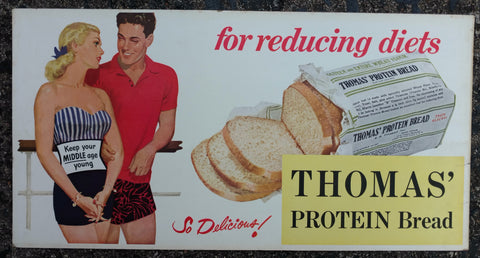 "Thomas' Bread ""Diet"" Original Cardboard Trolley Sign 1950's"
