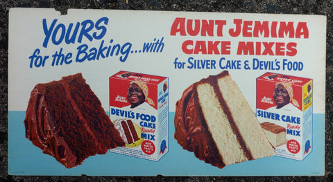 Aunt Jemima Cake Mixes Cardboard Trolley Sign - Dated 1950 - Old & Original