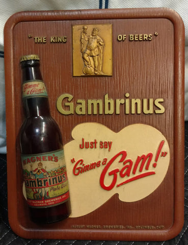 Gambrinus Pale Beer Hanging Composite Sign - Wagner Breweries Inc. - Columbus, Ohio Beer Sign