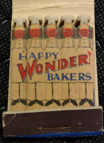 "Wonder Bread Sliced Bread ""Happy Bakers"" Feature Matchbook - Old & Original 1940's"