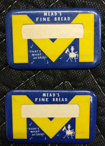 Mead's Fine Bread Grocery Store Name Badge - Bunny Bread Mascot - Old & Orignial 1960's
