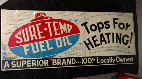 Sure Temp Fuel Oil Cardboard Sign - Old & Original Cardboard Sign