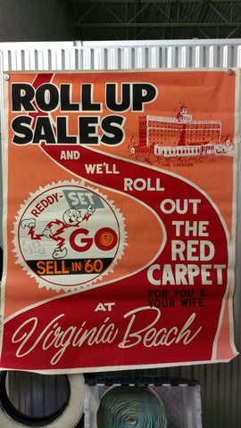 "Reddy Kilowatt 1960 Sales Contest ""Red Carpet"" Poster to The Cavalier Hotel, Virginia Beach, VA"