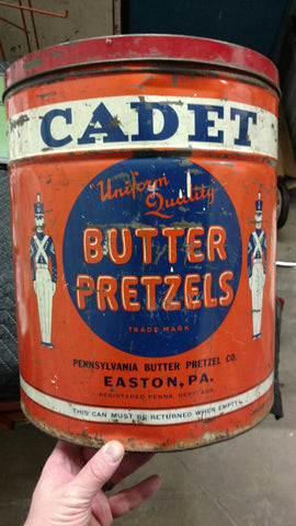 "Cadet ""Uniform Quality"" Butter Pretzels Tin Can - Easton, PA"