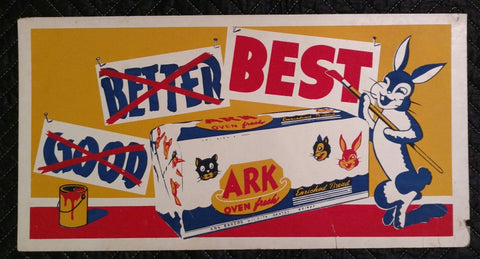 1950's Bunny Bread (Ark Bakers, Wichita, Kansas) Cardboard Trolley Sign - Old & Original