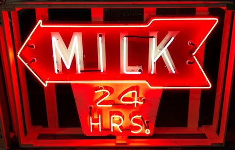 "1940's Milk ""24 Hours"" Porcelain Neon Flashing Arrow Sign - Old & Original"