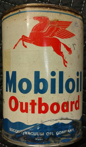 Mobiloil Outboard Metal Round Outboard Motor Oil Can - Socony Vacuum Oil Company