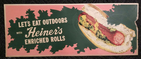 1950's Heiner's Bakery Enriched Hot Dog Buns Cardboard Sign - Old & Original - West Virginia