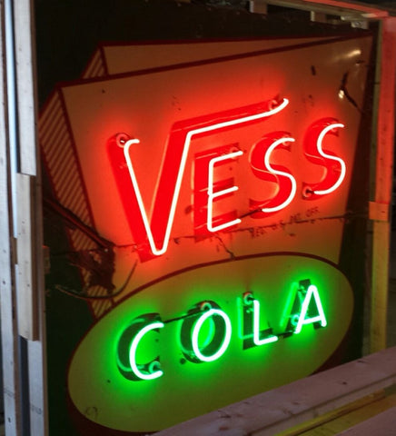 Vess Cola Huge 6' Original Porcelain Neon Sign