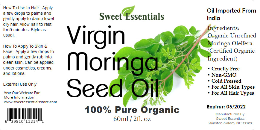 Organic Virgin Unrefined Moringa Seed Oil | Imported from India