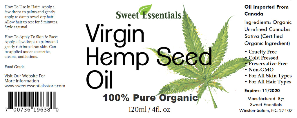 100% Pure Organic Hemp Seed Oil | Unrefined / Virgin | Imported From Canada | Food Grade