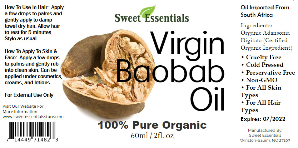Organic Unrefined Virgin Baobab Oil - Imported From South Africa
