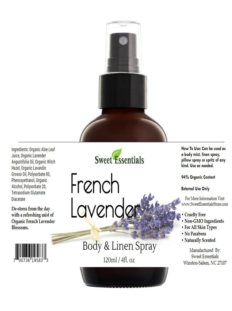French Lavender Body & Linen Spray - 4oz Glass Spray Bottle - 94% Organic Content - Lavandula Angustifolia Aromatherapy Mist - Safe for Kids and Pets