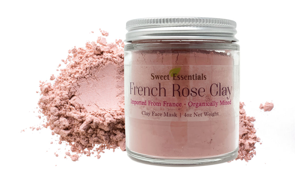 French Rose Clay - Imported from France - 4oz Glass Jar - Organic Skincare - Pink Kaolin Clay