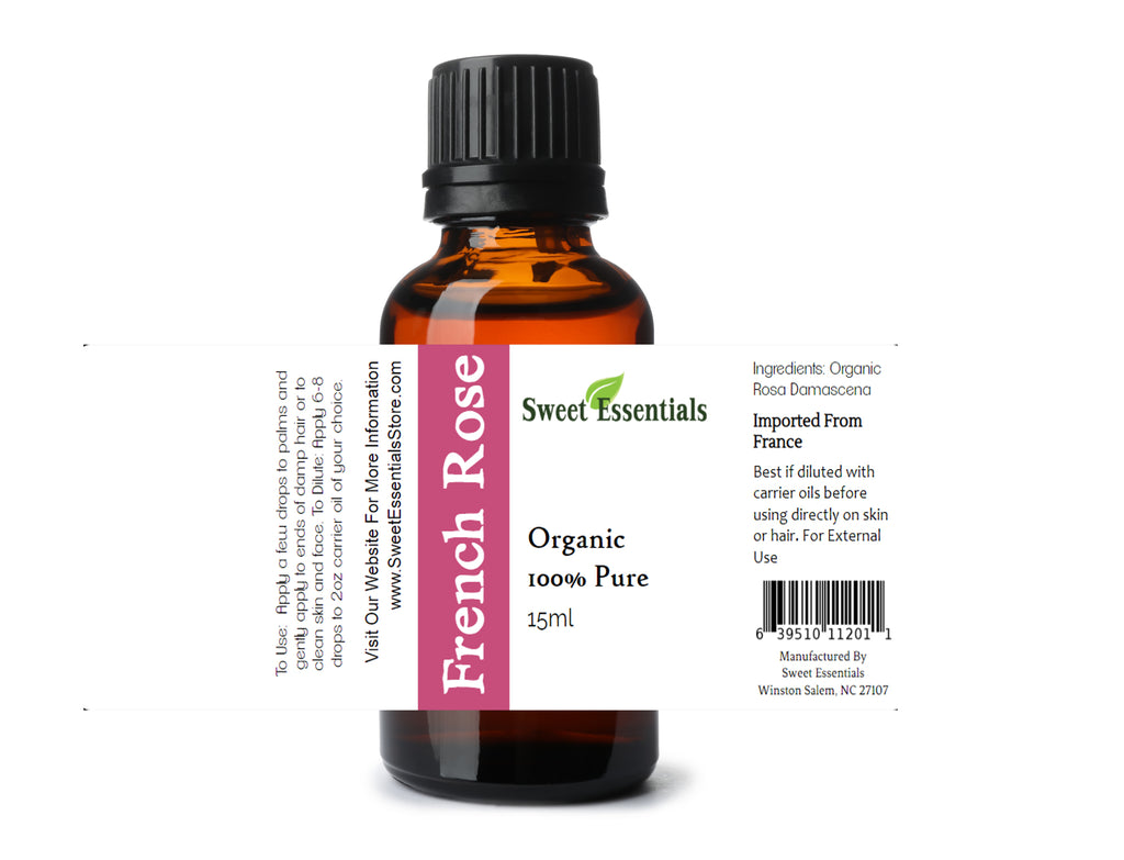 Organic French Rose Essential Oil - Rosa Damascena - Imported from France