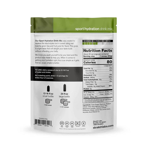 SKRATCH LABS – HYDRATION MIX MATCHA (CAFEÍNA)