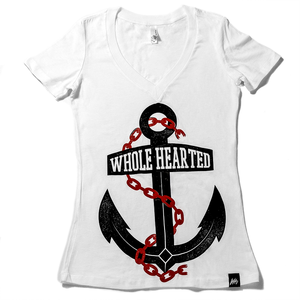 Whole Hearted Anchor Womens JR Fit Vneck Tee White