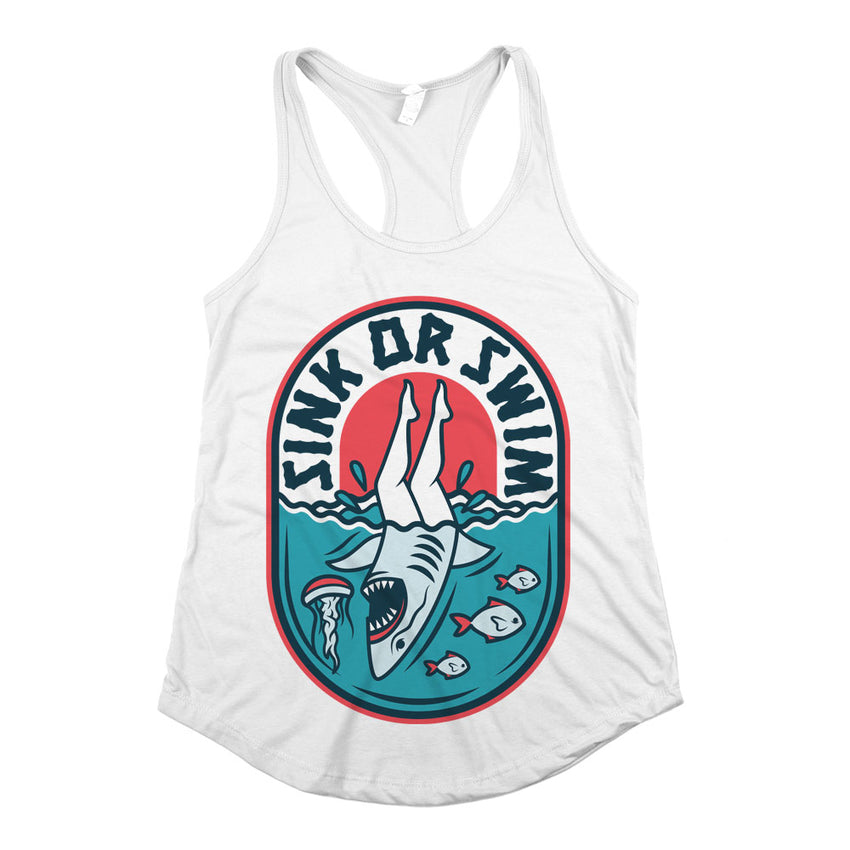 Sink Or Swim Racerback Tank Top White Womens