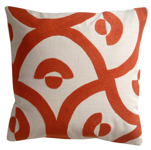 Orange Palace tile 18x18in cushion