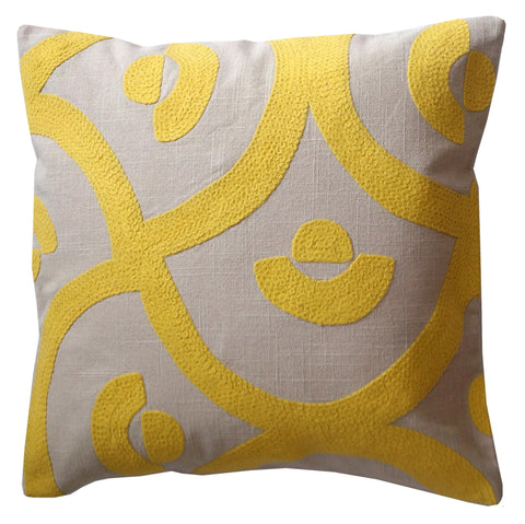 Yellow Palace Tile, 18x18in Cushion