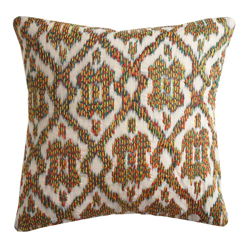 IKAT thread, 18x18in cushion.